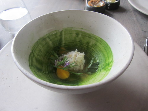 Noma - Copenhagen - August 2012 - Stone Crab with Parsley Puree, Verbena and Seaweed Broth and Egg Yolk