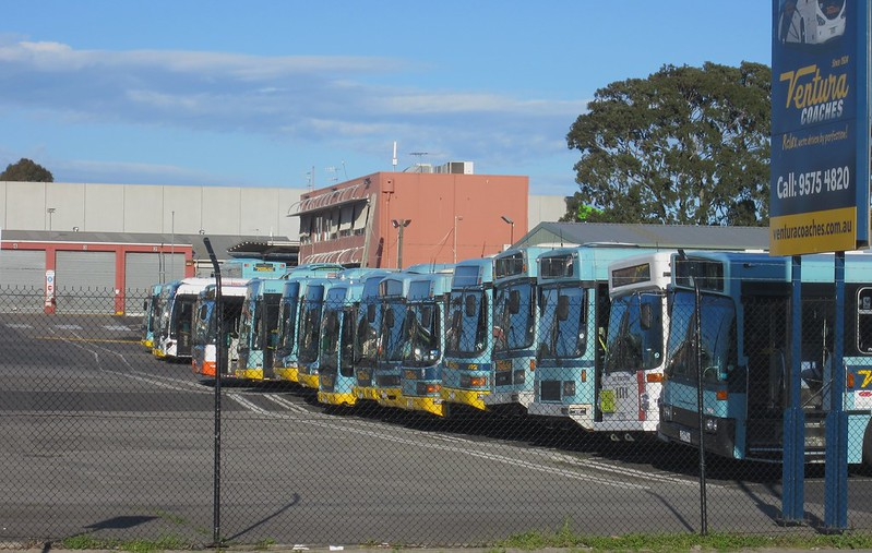 Buses idle at depot