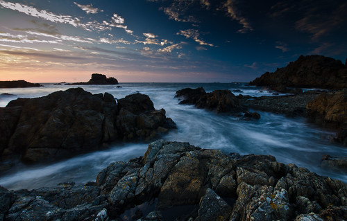 longexposure blue sunset sea cliff sun slr english nature water clouds landscape evening nikon rocks alone horizon dslr guernsey channelislands channel seafoam headland polarisingfilter d7000 nikond7000