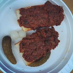 fried food(0.0), produce(0.0), brisket(0.0), meal(1.0), corned beef(1.0), food(1.0), dish(1.0), meatloaf(1.0), cuisine(1.0), venison(1.0),