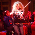 12-043 -- Natalie Stovall mixes with the crowd during a performance at the Hansen Student Center.