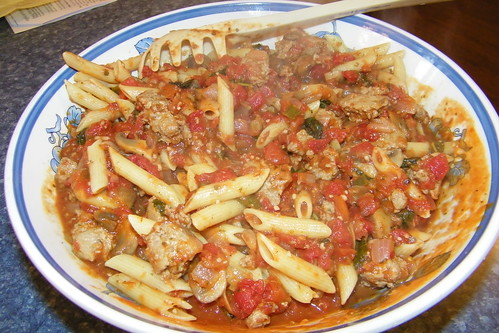 Penne with Sausage & Basil Sauce