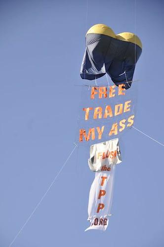 """Free Trade My Ass"" balloon"