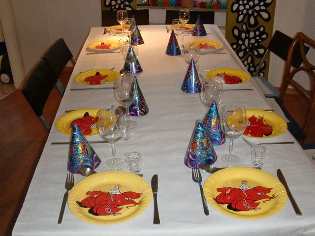 A table decorated for the crayfish party