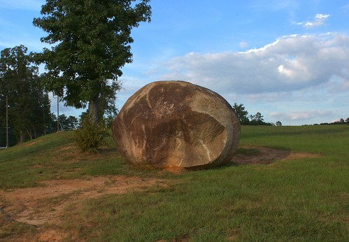 6:14 PM: Large Boulder in front of Brewer Middle School