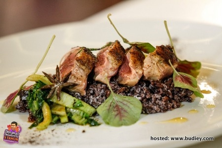 Seared Duck with Bak Choy and Coconut Black Rice