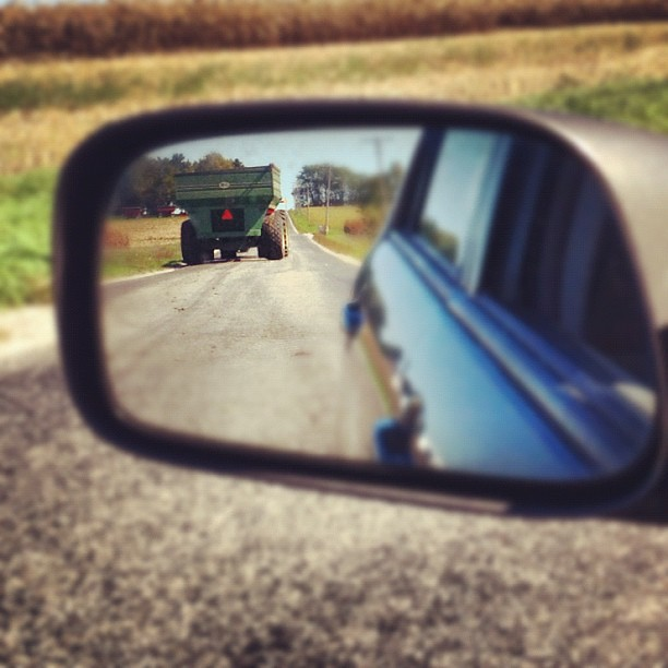 Objects In Mirror Are Larger Than They Appear #rearview #perfectfallday #harvest #johndeere
