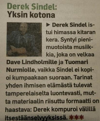 Derek Sindel - Yksin kotona -LP:n levyarvio Aamulehden Valo-liitteessä 5.10.2012