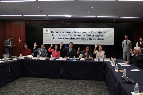 El día 16 de agosto del 2016 se llevó a cabo en el Senado de la República la décima segunda reunión de trabajo de la Primera Comisión de la Comisión Permanente. Gobernación, Puntos Constitucionales y de Justicia