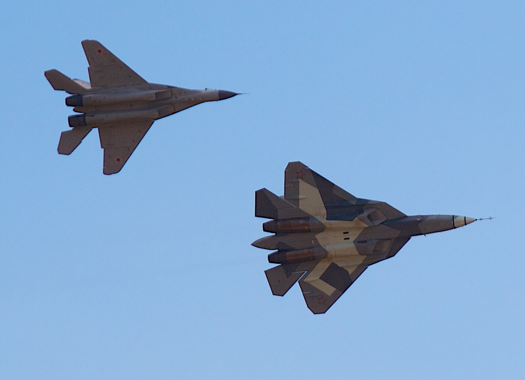 T-50 (PAK-FA) and MiG-29M2 by Andrey Belenko, on Flickr