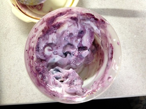 Chobani plain yogurt with blueberries, blueberry preserves, chia seeds, almonds