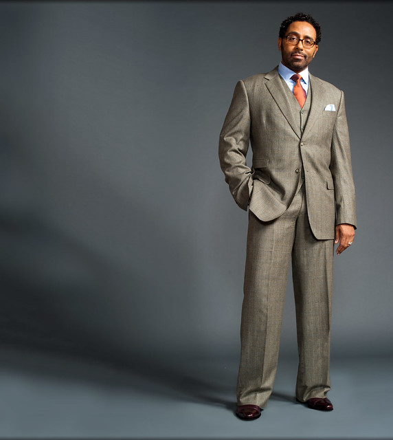 Grey glen plaid 3 piece suit blue shirt with a burnt for Blue suit grey shirt