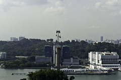 View of cable car and skyline from the Tiger Sky tower in Sentosa in Singapore