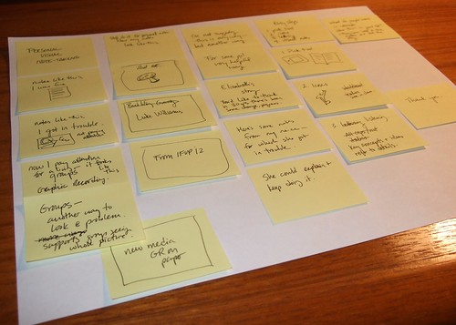 Using sticky notes to plan my presentation