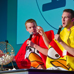 12-022 -- Jordan Kuhns '13 (left) and Kevin Carey '13 in Angry Bird costumes ran a Bingo game as part of the Titanium program during Turning Titan: New Student Orientation.