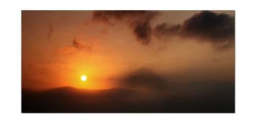 morning orange mist clouds rural sunrise indonesia volcano countryside java asia view tropical islan tropics borobudur merapi centralindonesia