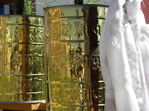 prayer wheels and silk cloth