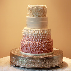 Ruffled Rose Wedding Cake