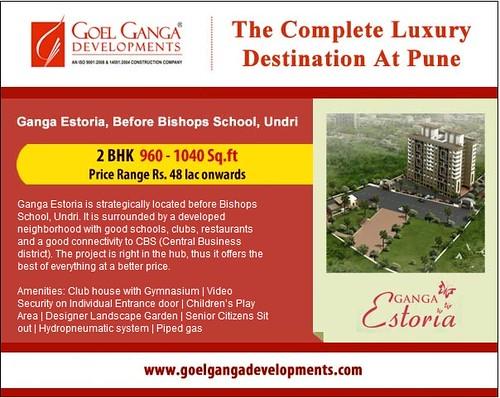 Ganga Estoria - 2 BHK Apartments 960 - 1040 sq ft before Bishop's School in Undri, Pune by Goel Ganga Developments, Price range Rs. 48 lac onwards by jungle_concrete