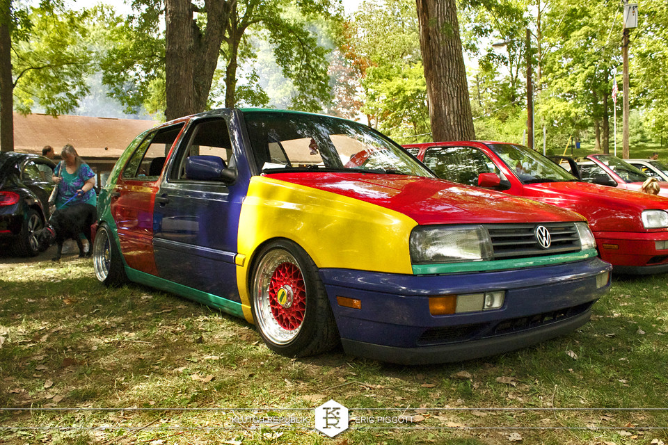 vw mk3 golf gti harlequin bbs rs 3pc wheels static airride low slammed coilovers stance stanced hellaflush poke tuck negative postive camber fitment fitted tire stretch laid out hard parked seen on klutch republik at midwest volksfest 2012