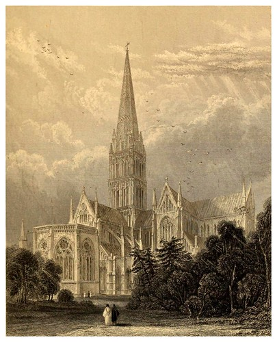 002-Catedral de Salisbury vista sudeste-Winkles's architectural and picturesque illustrations of the catedral..1836-Benjamin Winkles