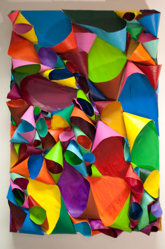 Color Cornucopia - multicolor corlorblock abstract sculptural bas relief painting by Chicago artist Tiffany Gholar