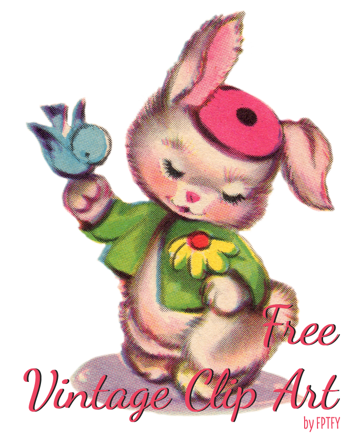 Free Vintage Clip art_ Vintage Bluebird and Vintage Bunny Clip Art  by FPTFY web ex