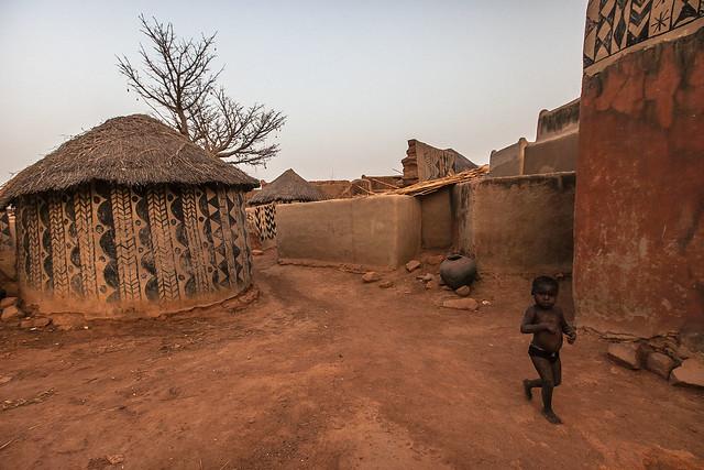 baby child in Gurunsi villages, tiebele, south of burkina faso