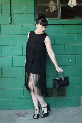 60s black fringe mini dress