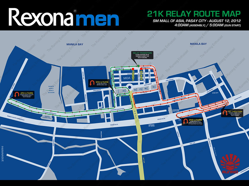 Rexona Run 2012 21k Relay Route