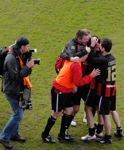 Crues players celebrate cup win