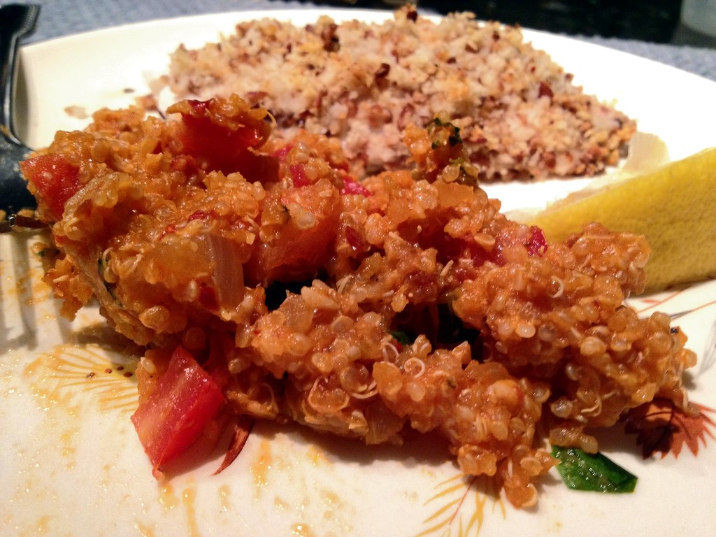 Spicy Tomato Basil Quinoa with Pecan-Crusted Tilapia