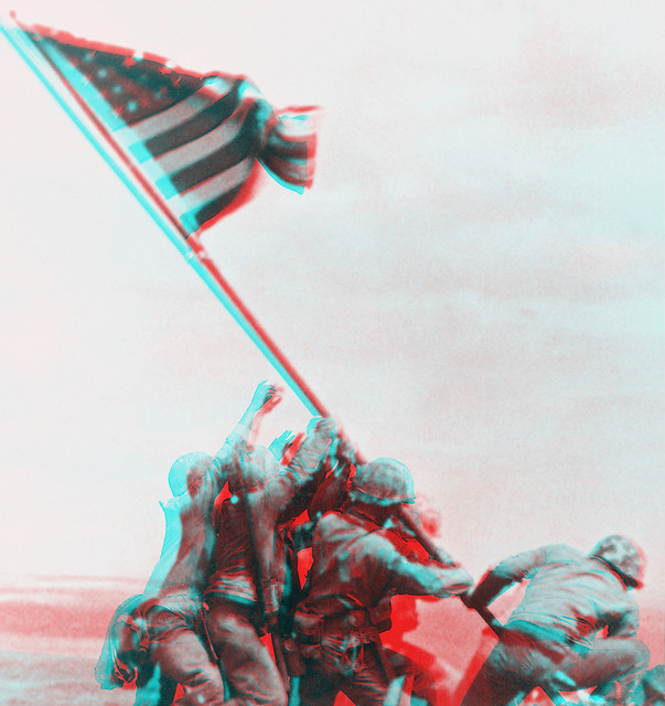 3D Flag-Raising on Iwo Jima (anaglyph)