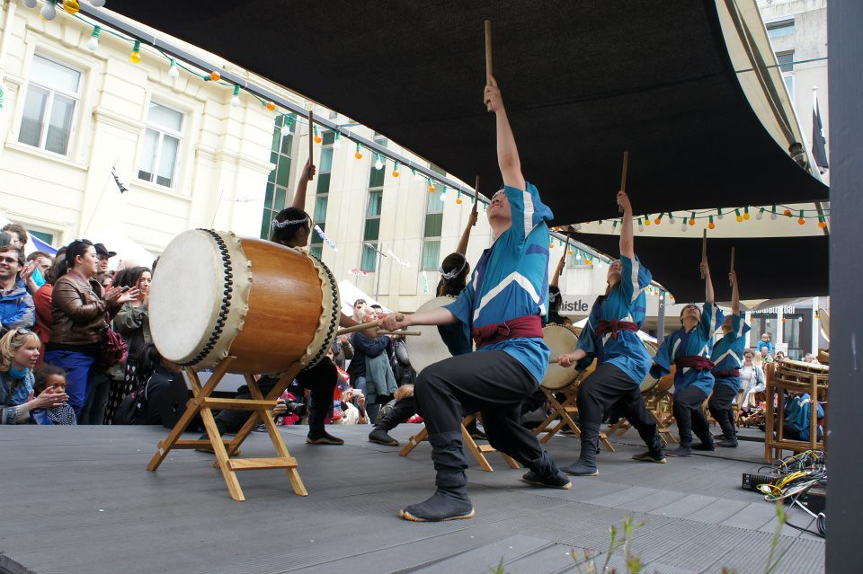 Stanford University Taiko Ensemble performs in Bartholomew Square as part of the 2012 Brighton Japan Festival
