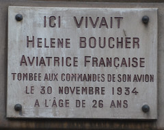 Photo of Helene Boucher white plaque