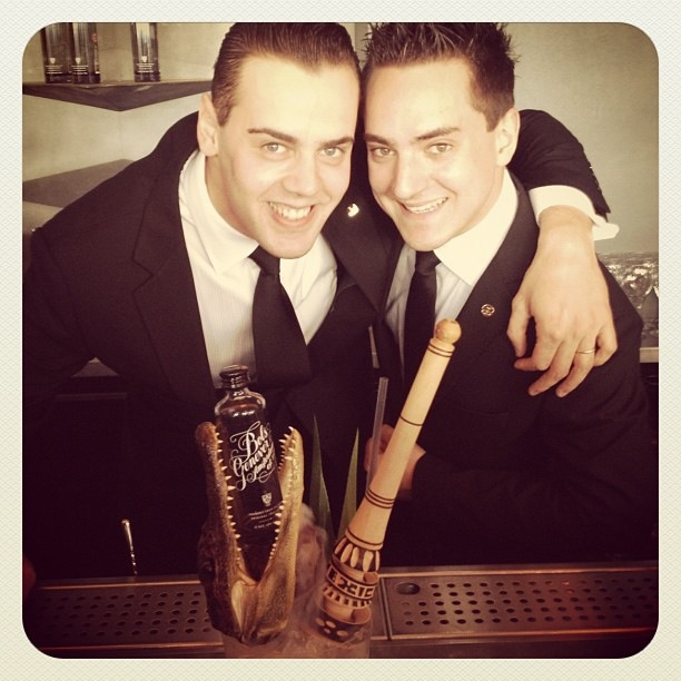 Simone Caporale and Rudi Carraro from Artesian at The Langham Hotel with their Painkilla cocktail