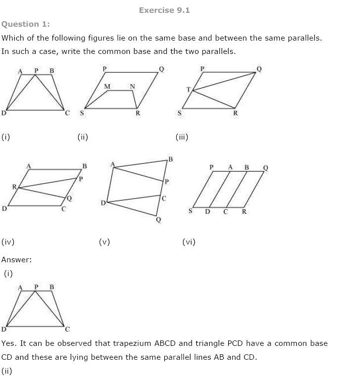 NCERT Solutions for Class 9th Maths Chapter 9 Areas of – Area of Parallelogram Worksheet