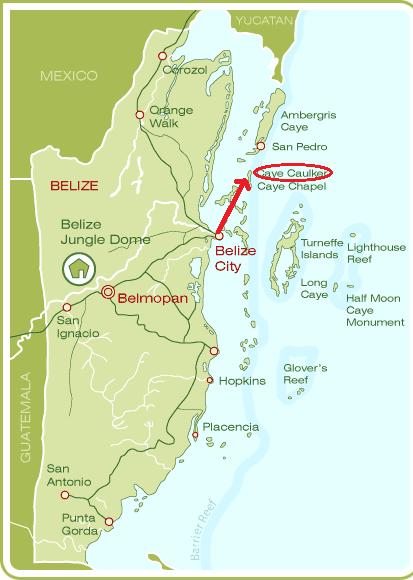 Mapa de situación de Cayo Caulker (Belice)