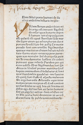 Ownership inscriptions in Pius II, Pont. Max.: De duobus amantibus Euryalo et Lucretia