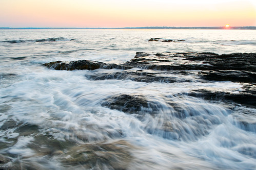 ocean longexposure sunset red orange motion nature water colors yellow bay movement nikon rocks waves wideangle rhodeisland beavertail splash current jamestown slowshutterspeed rapidmotion austinrecio