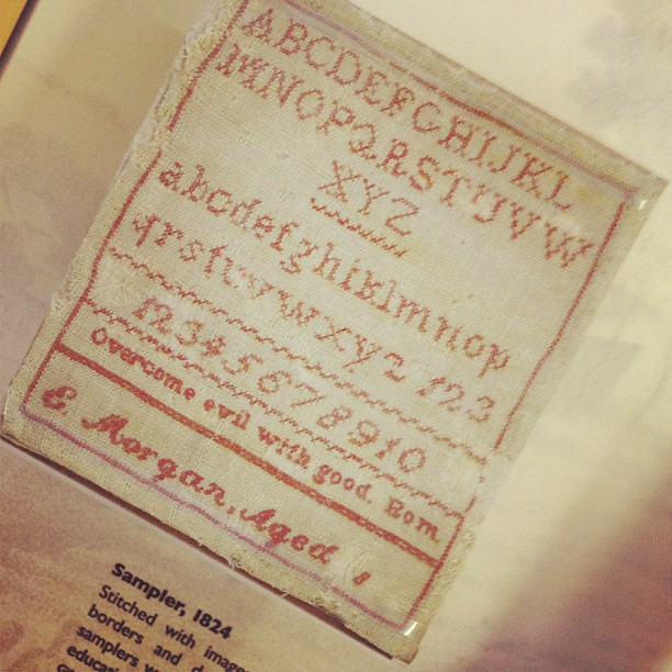 Love this beautiful 1824 sampler--if an eight-year-old can do it so can you! #wittemuseum #sthcwitte