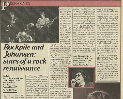 08/20/79 Rockpile/ David Johansen Group/ John Cooper Clarke @ The Palladium, NYc, NY (Rolling Stone Magazine 10/18/79)01