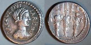 486/1 P.ACCOLEIVS LARISCOLVS Accoleia Denarius. Diana Nemorensis, Three cult nymph statues Diana Hecate Selene, Cypress grove. Rome 41BC (per Woytek)