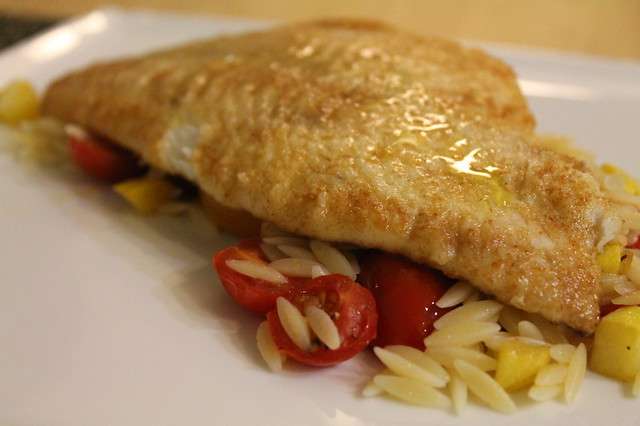 Flounder Piccata over Orzo with Squash and Tomatoes | Flickr - Photo ...