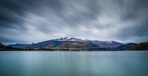 new lake snow mountains water clouds canon bay long exposure zealand 5d wanaka 1740 nd400 glendhu