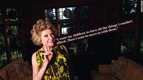 Phyllis Diller with text next to her that reads, I want my children to have everything I couldn't afford. Then I want to move in with them.