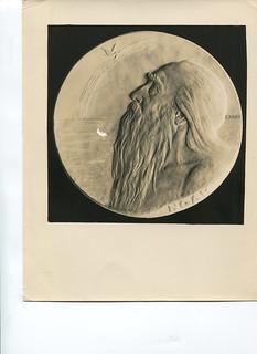 Plaster model of Noah medal by Julio Kilenyi
