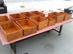 Staining wine boxes for future use as shelving