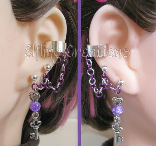 Purple and Silver Key Cartilage Chain Ear Cuffs