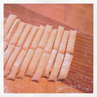 2) fold the dough a little from each side and cut